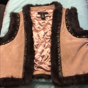 Large suede and rabbit trim vest from Arden B